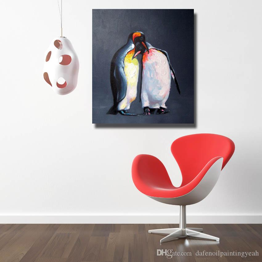 Penguin Oil Painting Hand made Canvas Painting Living Room Wall Decor High Quality Animal Wall Pictures No Framed
