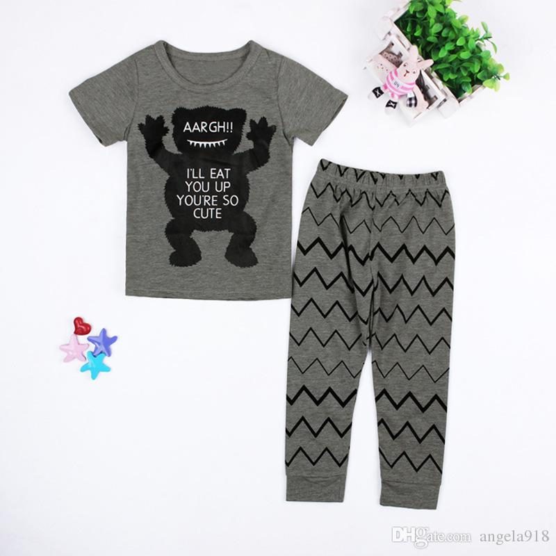 2 Design Baby Pajamas 2016 children summer Cotton INS little monster cartoon Pyjamas short Sleeve + Pants Sets E144