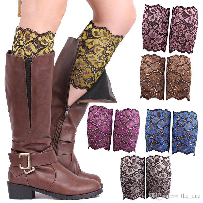 Stretch Lace Boot Cuffs Women GIRLS LEG WARMERS Trim Flower Design Boot Socks Knee