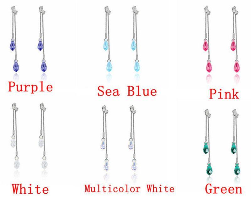 Verklaring Sieraden Lange Oorbellen voor Vrouwen Gemaakt met Swarovski Elements Crystal Hanger Dangle Drop Earring Vintage Mode-sieraden 3056