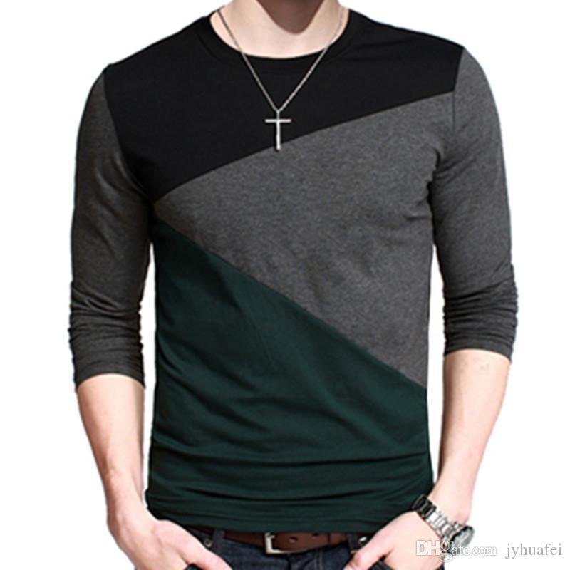 Slim Tops Para 2 Casual 2018 Por Fit Colores Menor Redondo De Camiseta Hombre Cuello Manga Al Larga wOP0kn