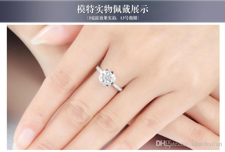 US GIA certificate Have S925 Silver Security LOGO Solid 925 Silver Wedding Rings For Women Classic Crown Inlay 1 Ct CZ Diamond Engagement