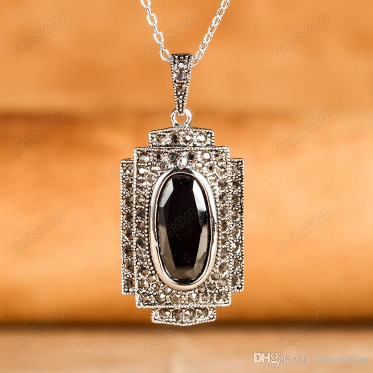 Cason New Arrival Black Zircon Pendant Necklaces and Earrings Sets Thai Silver Marcasite Jewelry Sets XS113