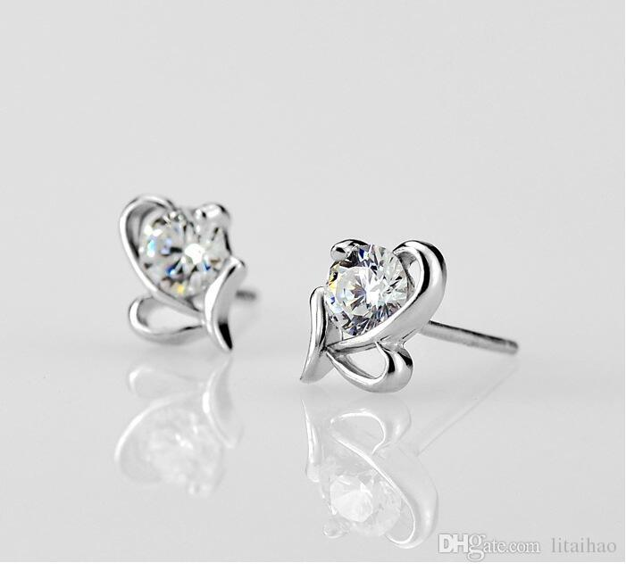 925 sterling silver Butterfly heart-shaped Zircon Earrings Korea Europe for Women Wedding jewelry Factory price sales Not fade Gift box