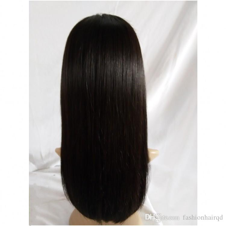Cheap Human Hair Full Lace Wigs For Black Women Straight Indian Virgin Hair Lace Front Wigs With Baby Hair Natural Color Free Part
