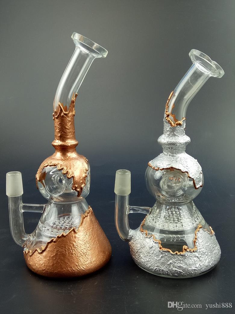 Due percolatori a pettine in vetro riciclato in vetro bong in tubo d'acqua 14,5mm alto 12 pollici Gb054