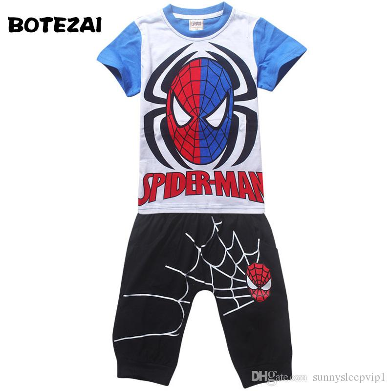 b507f243a 2019 2017 Summer Kids Clothes Baby Boys Clothing Children Suits Spiderman  Kids Boy Set T Shirt+Pants Cartoon Clothes Sports Suit From Sunnysleepvip1,  ...