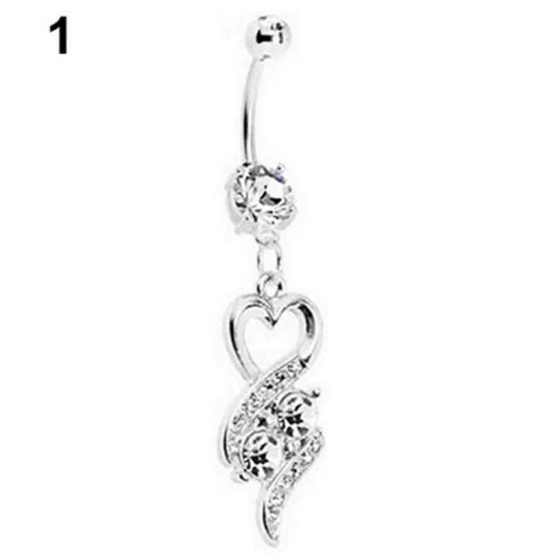 Hot Sexy Charm Blue/White Crystal Heart Dangle Navel Belly Bar Button Rings Body Piercing Jewelry