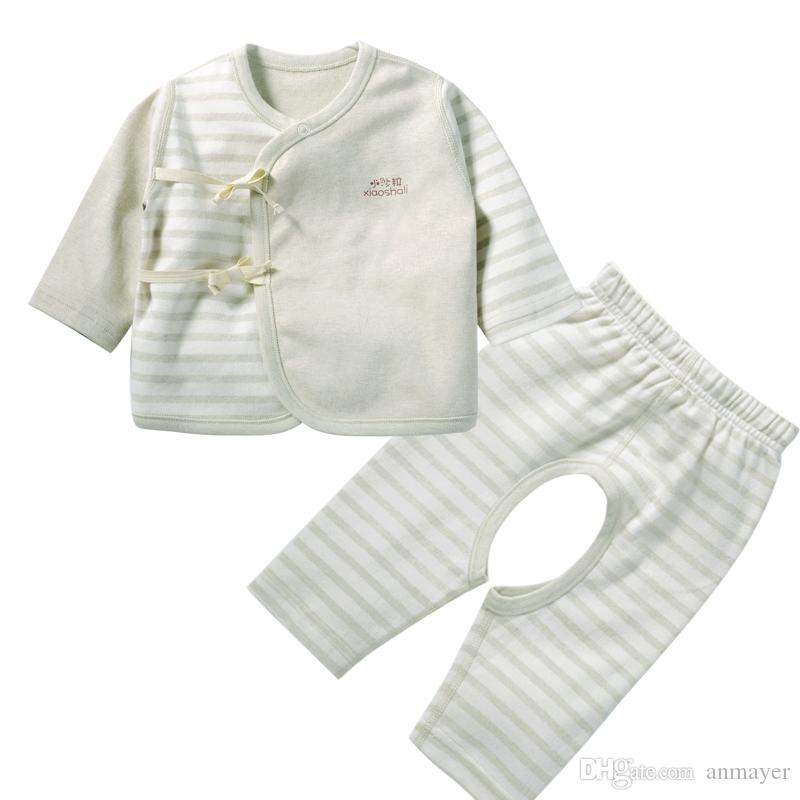 2018 Baby Nature Colored Cotton Suit Sets Long Sleeve Tie Shirts And