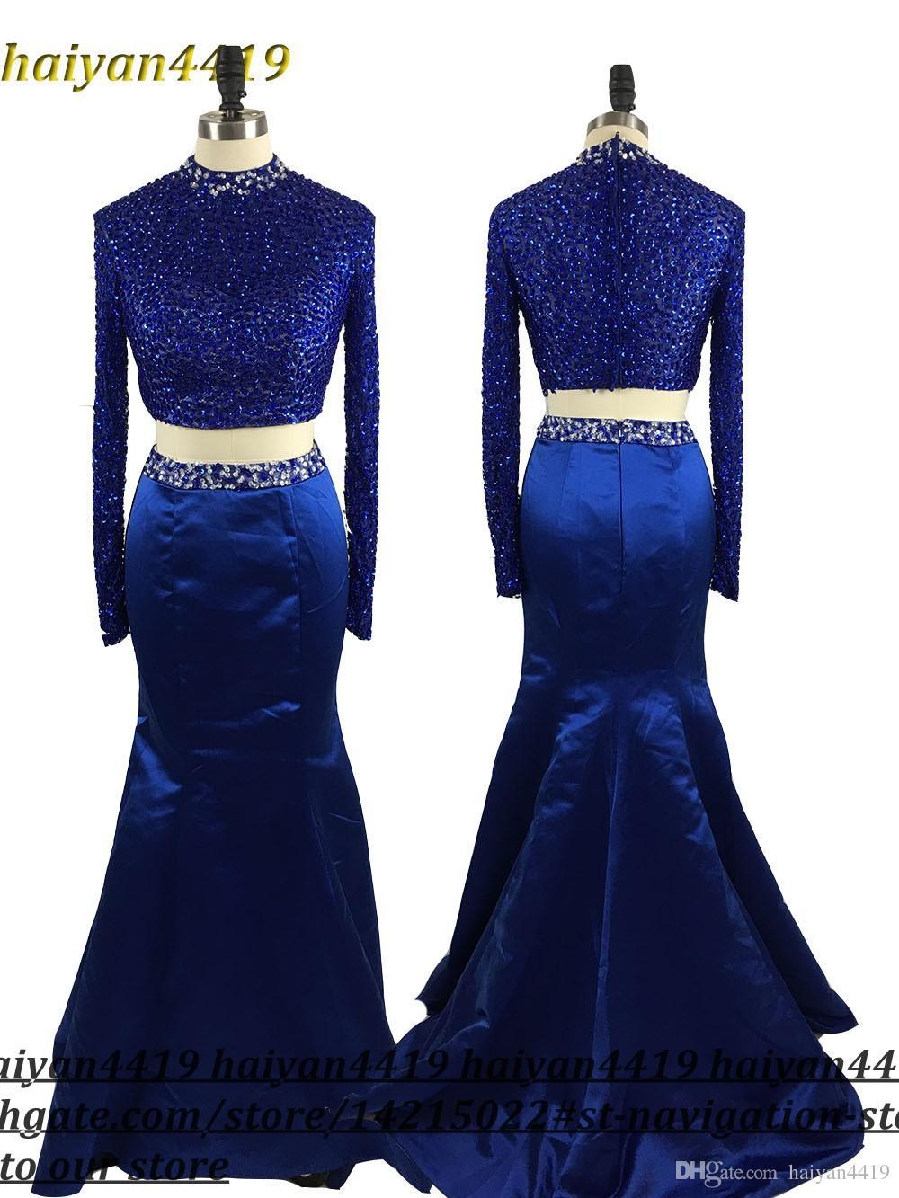 2017 새로운 두 조각 무도회 드레스 높은 칼라 크리스탈 페르시 긴 인어 2 개 다시 오픈 로얄 블루 공식 파티 드레스 이브닝 가운
