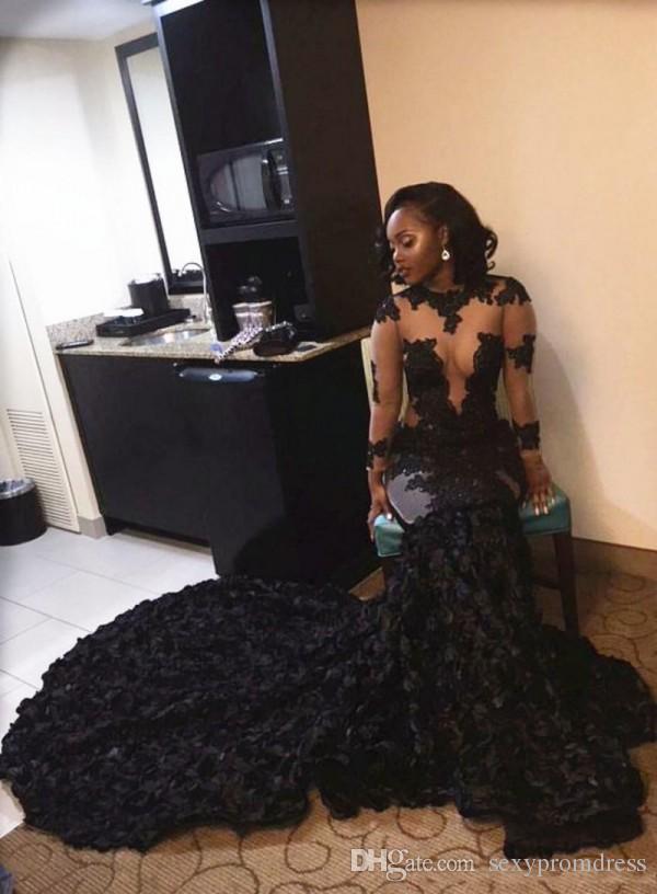 Sul Afria Estilo Preto Menina Vestidos de Baile 2016 Sexy Ver Através de Renda Applique Sereia Vestidos de Noite Ruched Sweep Train Formal Vestidos de Festa