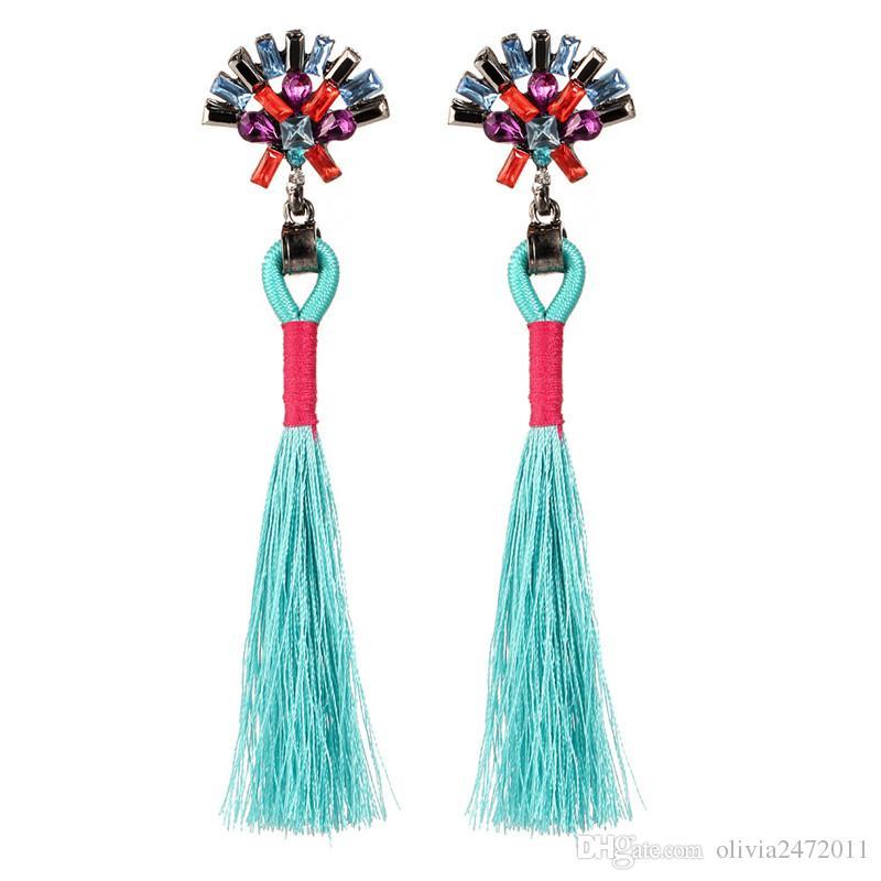 New Women Wedding Long Earrings Boho Jewelry Girls Rero Cotton Fringe Tassel Dangle Drop Earring With Crystal HZ