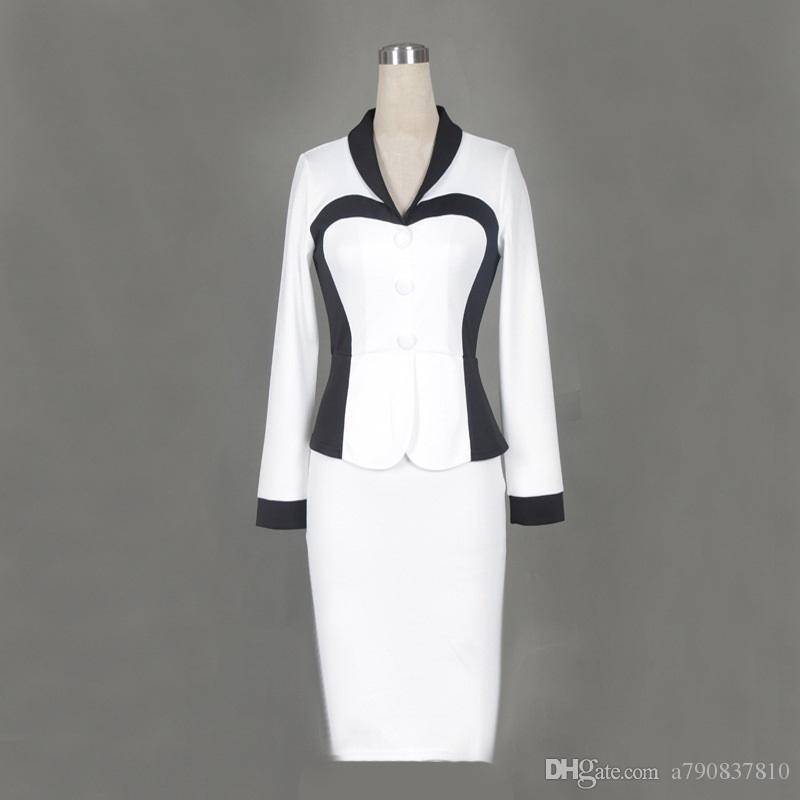 S-2XL taille femmes européennes et américaines usure de faux costumes couture manches longues élastique mince jupe crayon robe de style OL NYC385