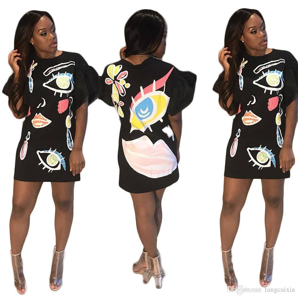 Gros livraison gratuite Européenne Motif Imprimé Mode Femme Lanterne Manches Casual O Cou Au-Dessus Du Genou Rue Porter Grande Taille Lâche Robes