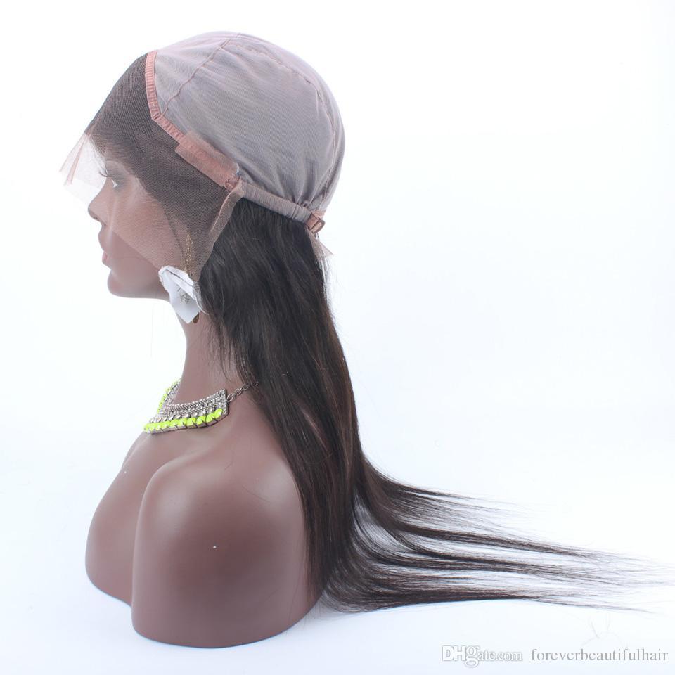 Pre desplumado 360 Frontal de encaje con gorra de peluca Pelo peruano recto Banda ajustable frontal Cabello natural 360 Cabello de encaje