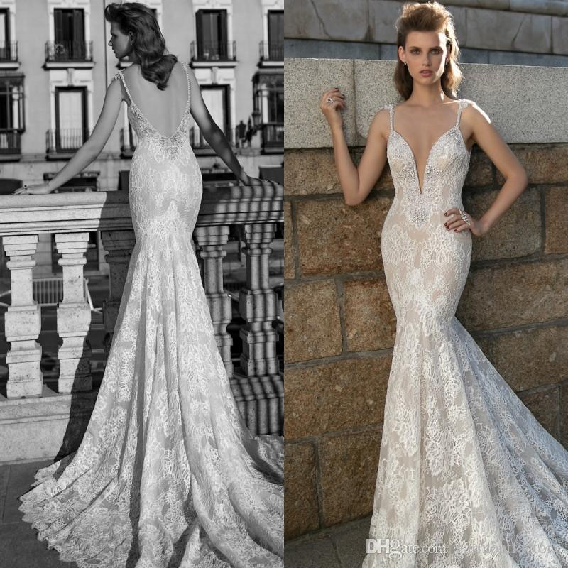 Fall 2016 Berta Bridal Mermaid Wedding Dresses Sexy Deep V Neck With Spaghetti Straps Low Cut