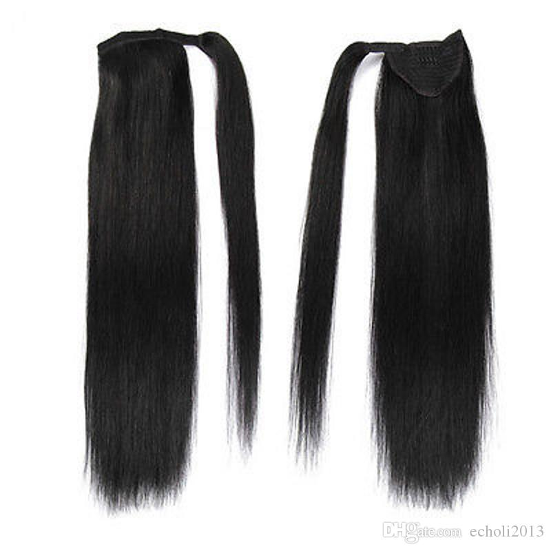 24''Long Straight Ponytail Clip In Kinky Pony Tail Hair Extension Wrap Around Pony tail Hair Pieces Straight Human Hair Ponytail