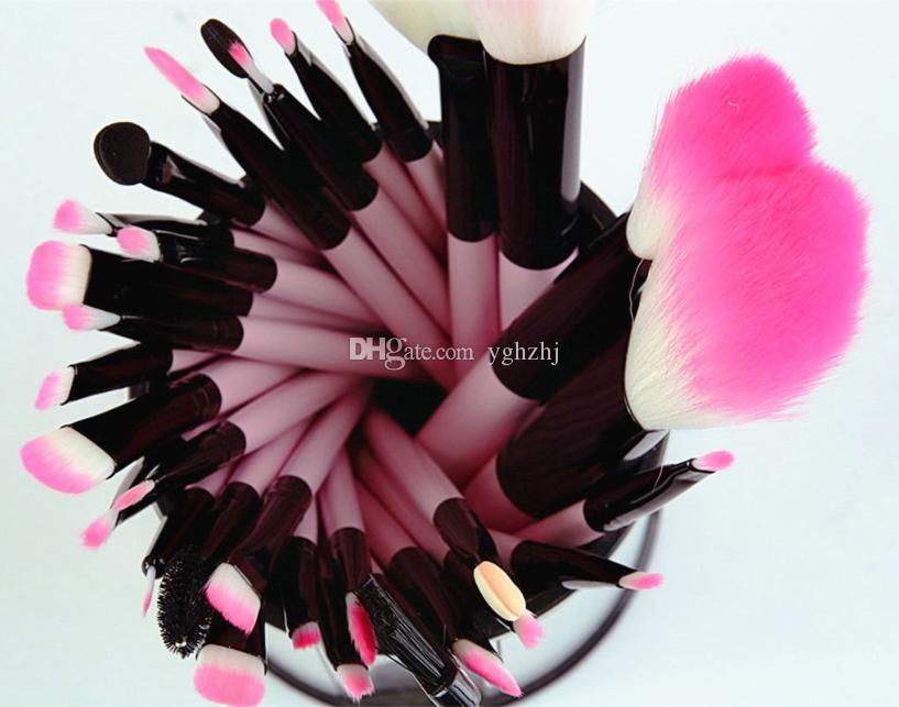 Pink Makeup Brushes Set Professional Cosmetics Brush Eyeshadow Powder Make Up Tool Kit + Pouch Bag