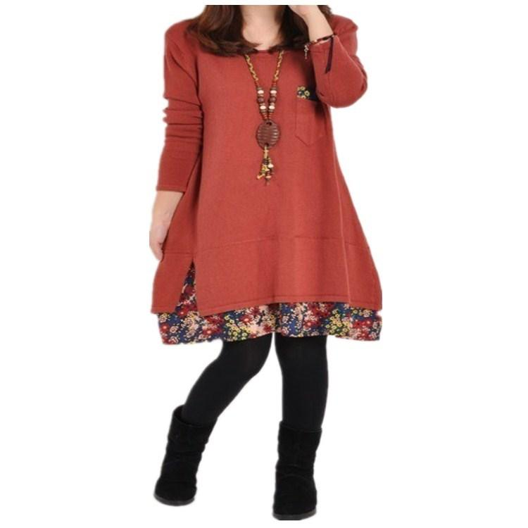 Autumn Winter Plus Size Dress O Neck Long Sleeve Stitching Casual