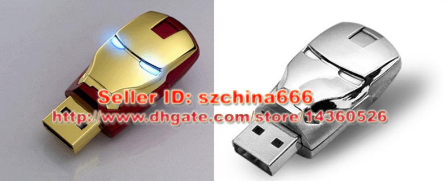 Homem de ferro de 2 GB 4 GB 8 GB 16 GB USB 2.0 Flash Memory Stick Pen Drive de Armazenamento Polegar Disco Real Capacidade USB