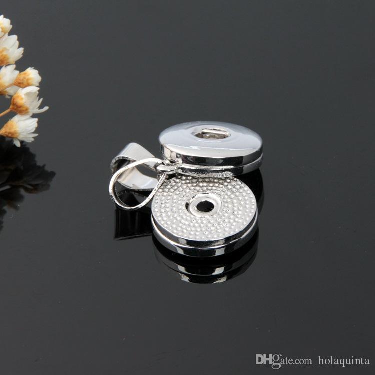 Noosa button snap pendants DIY necklace metal alloy charms Silver pendants jewlery wholesale