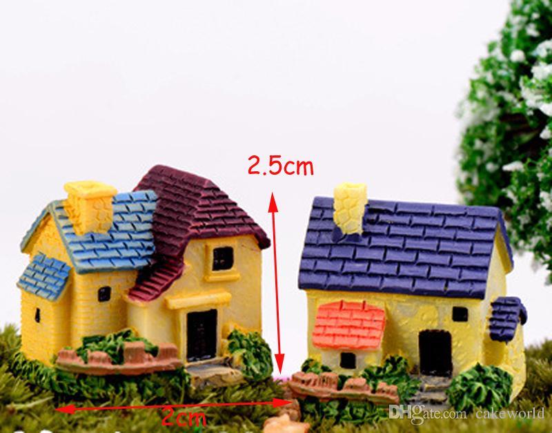 Miniature Village Villa Fata gnomi da giardino Casa Europa mestiere in resina Figurine ornamenti Dollhouse bonasi arredamento
