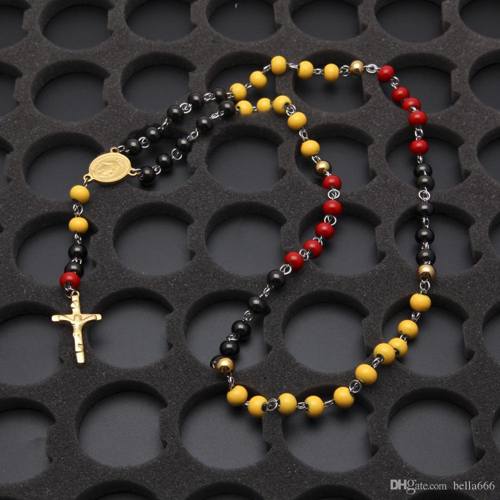 عالية الجودة الوردية المقاوم للصدأ الهيب هوب الخرزة قلادة القلائد رجال نساء الصلبان يسوع مجوهرات الأحمر الأصفر الأسود مختلط لون الخرز سلسلة