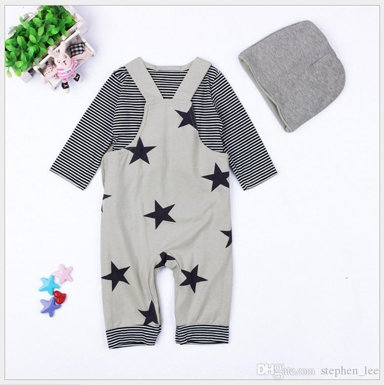 Ensemble de trois pièces pour bébé Automne Vêtements ensembles infantile à manches longues rayé T-shirt + étoiles Impression jarretelle Pantalons Barboteuse + Chapeaux Toddler Costume