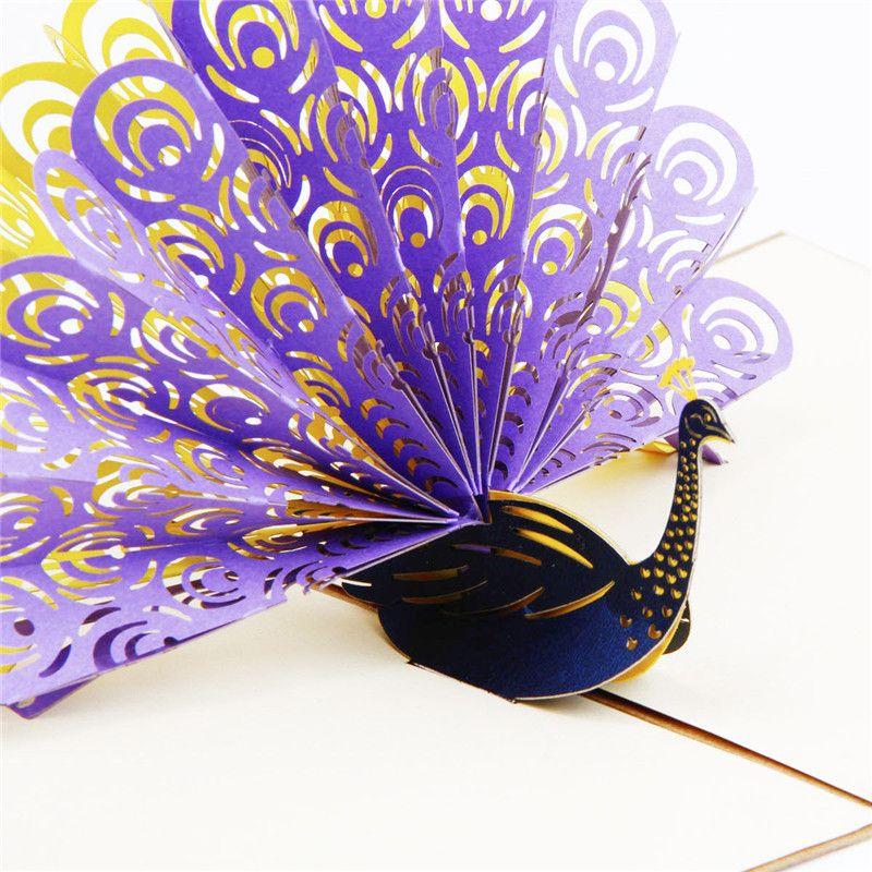 Korean Handmade 3D Animals Peacock Pop UP Card Birthday