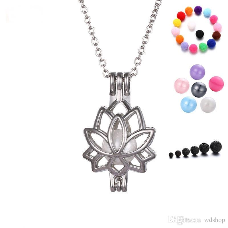Silver Lotus Locket Necklace Creative Hollow Essential Oil Diffuser Necklace Aromatherapy Perfume Jewelry For Women