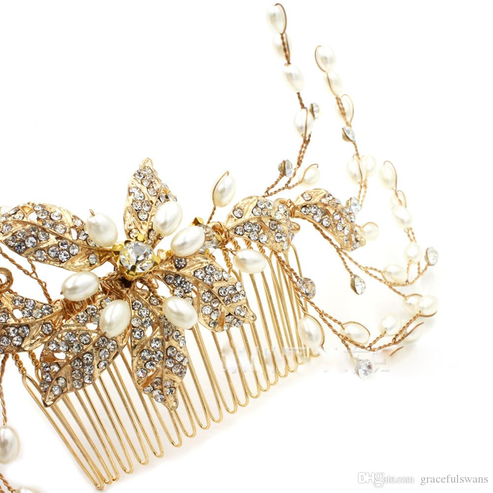 Peignes à cheveux dorés de haute qualité pour la mariée, perles brillantes, accessoires de cheveux pour les filles coroa de noiva