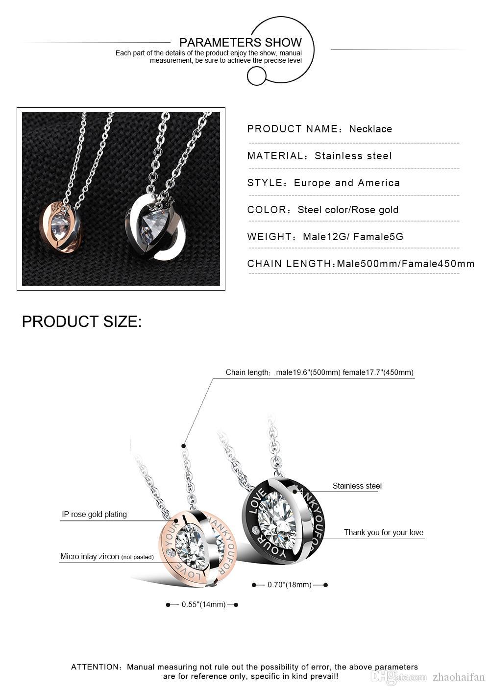 Modeschmuck Paar Zubehör Edelstahl Rose Gold Plated Intarsien CZ Diamant Gliederkette Liebhaber Anhänger Halskette GX1109