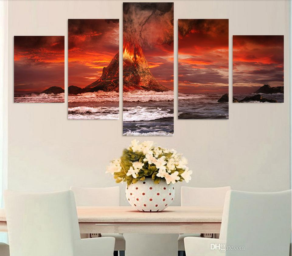HD Printed mountains volcano sea ocean Painting Canvas Print room decor print poster picture canvas sail boat painting