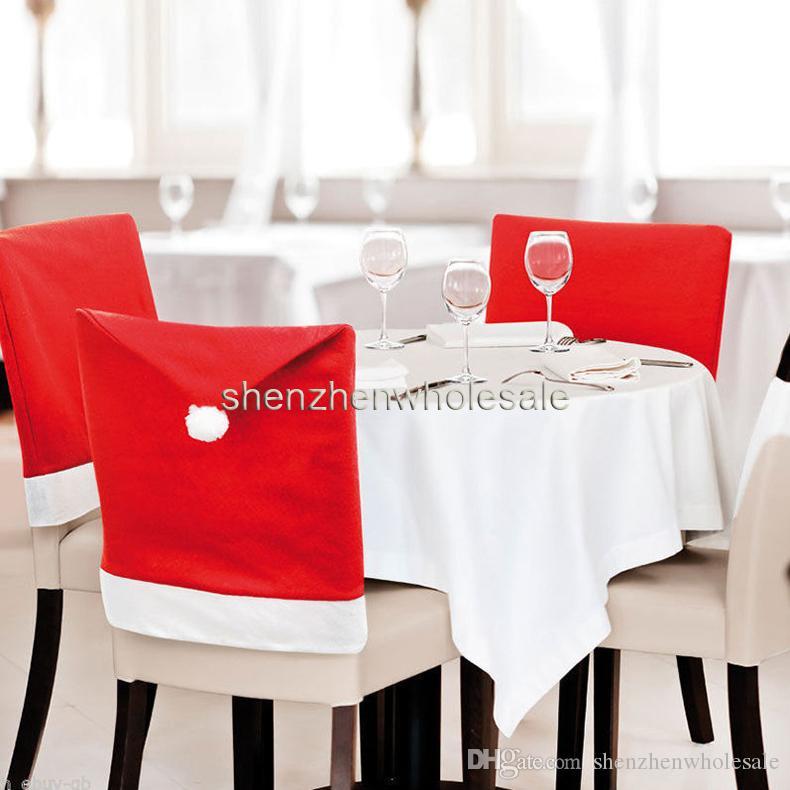 Hot 2016 moda Decoração de Natal Suprimentos para mesa de jantar festa em casa capa de cadeira de Natal por atacado Frete Grátis