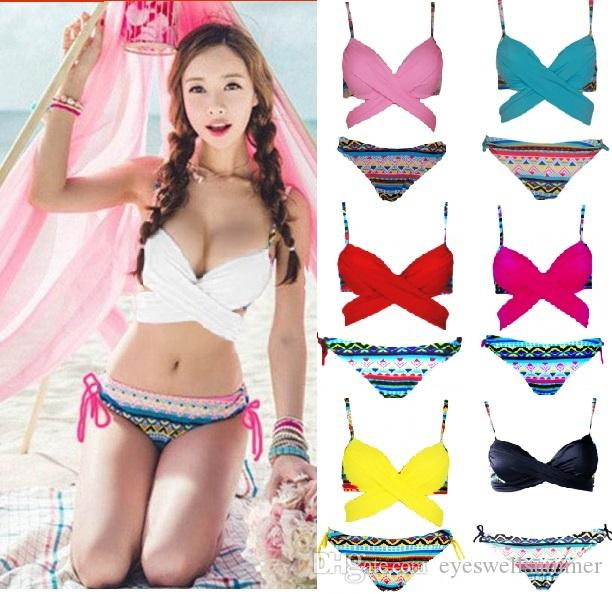 e5bd1a9bc72e0 2019 Korean Style Criss Cross Halter Top Wrap Bikini Push Up Bathing Suits  Sexy Print Swimwear Bottom Women Bandage Swimsuit From Eyeswellsummer, ...