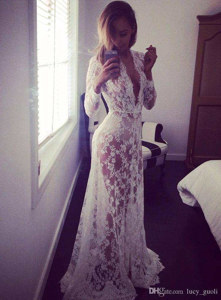 2016 Summer European Style Womens Sexy Lace Embroidery Maxi Solid White Dress Long Sleeve Deep V Neck See Through Floral Vestidos Plus Size