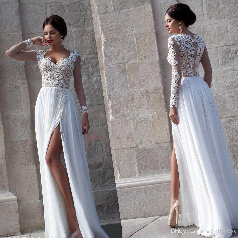 Discount 2016 Sexy Sheer Long Sleeves Lace Dresses Sweetheart ...