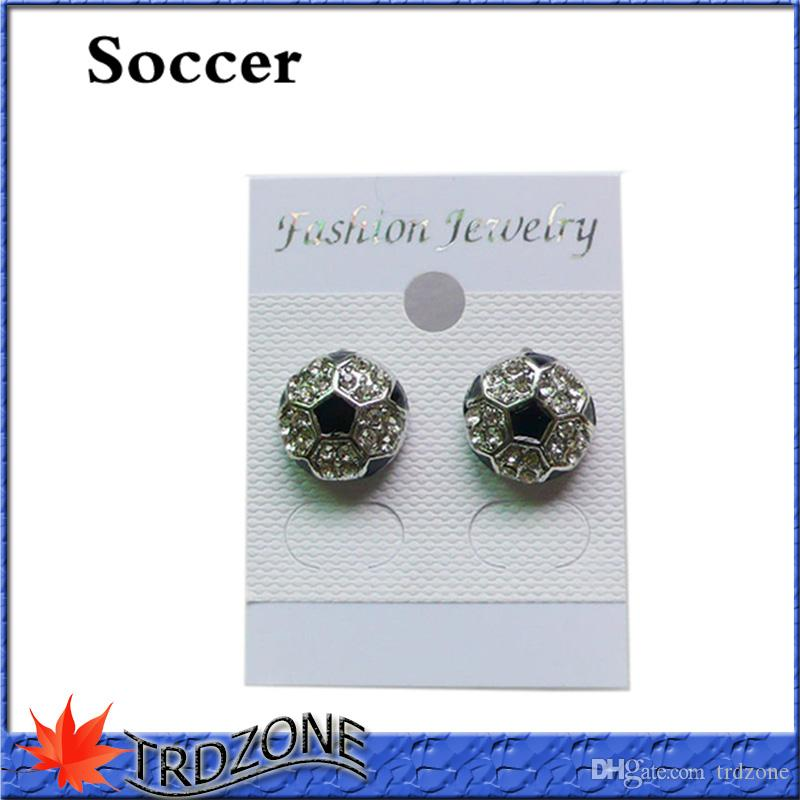 Fußball Ohrringe Stud Crystal Strass Silber Bling Fastpitch Ohrring