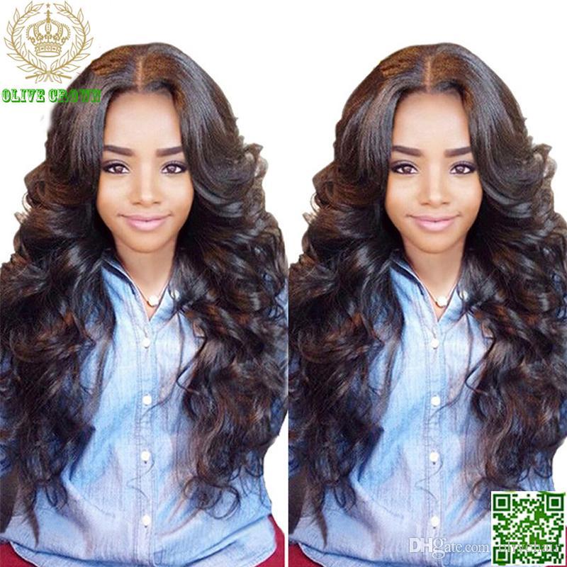 Pelucas de pelo humano chino de seda superior peluca llena del cordón Peluca ondulada del frente del cordón del pelo ondulado con peluca de seda del cordón del pelo humano de la base