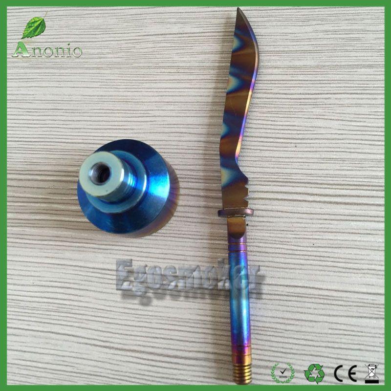 Colorful Glass Quartz Nails Rainbow Domeless Titanium Nails set 6 in 1 10mm 14mm 18mm Female/Male Carb Cap Rainbow Ti Nail dabber