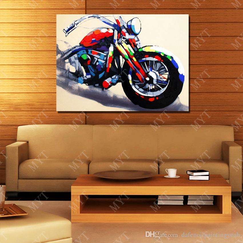 손 화포 현대 화포 벽 예술 거실 장식 그림에 한 추상적인 오토바이 유화