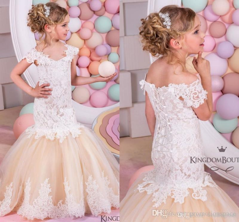 Mermaid Lace Arabic Flower Girl Dresses For Weddings Champagne Tulle Baby Communion Children Pageant Gowns