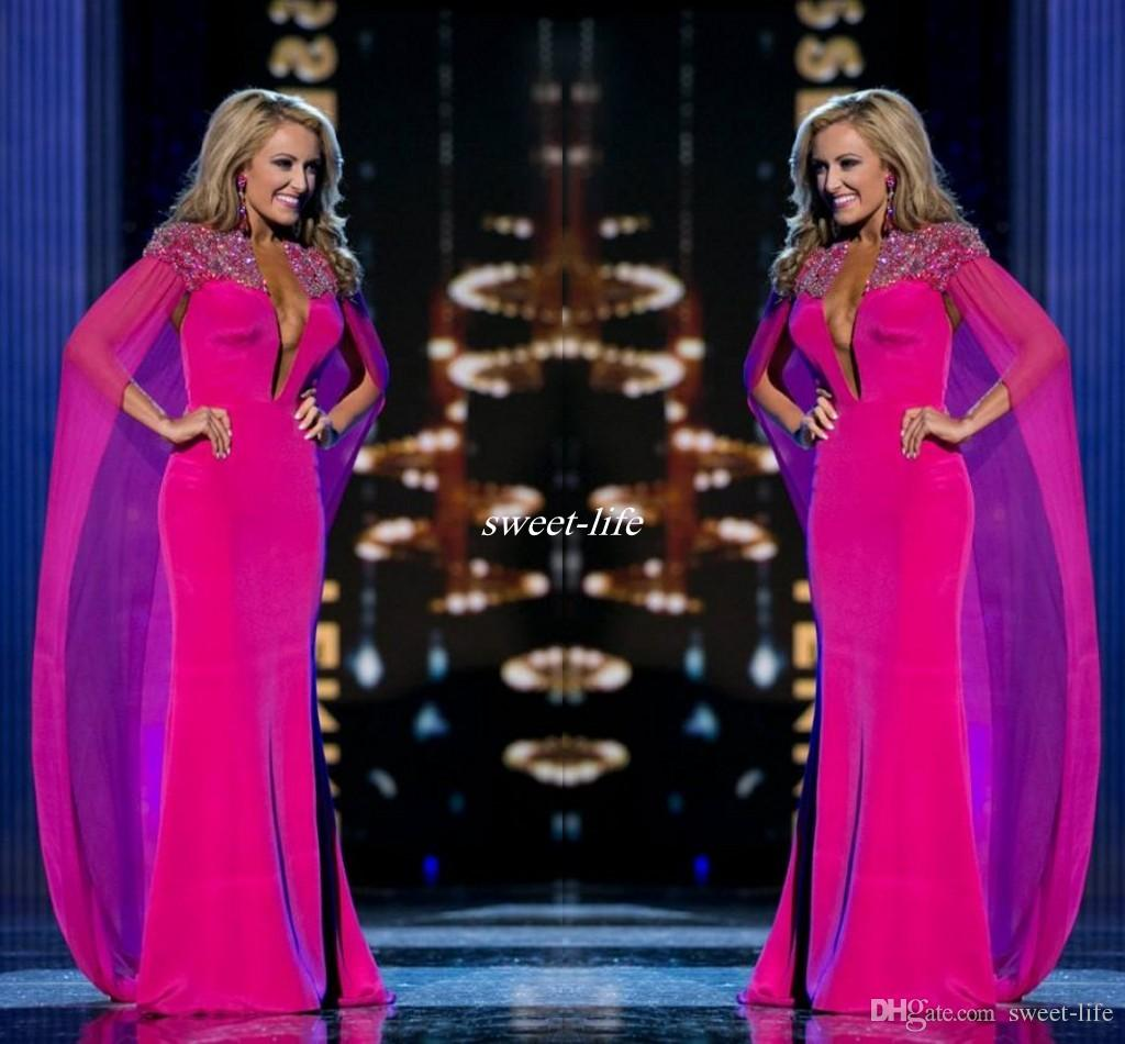 Miss Usa Pageant 2016 Evening Gowns With Cape Fuchsia Chiffon ...