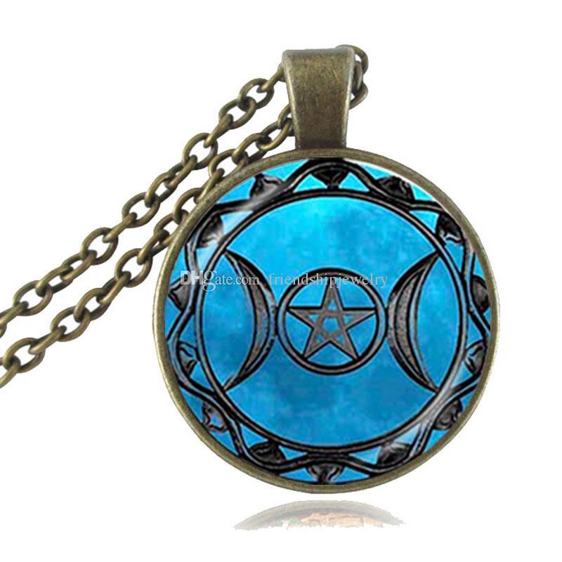 Triplo deusa da lua pingente pentagrama colar bruxa jóias de vidro cúpula wiccan colar de prata banhado a bronze cadeia charme jóia wicca