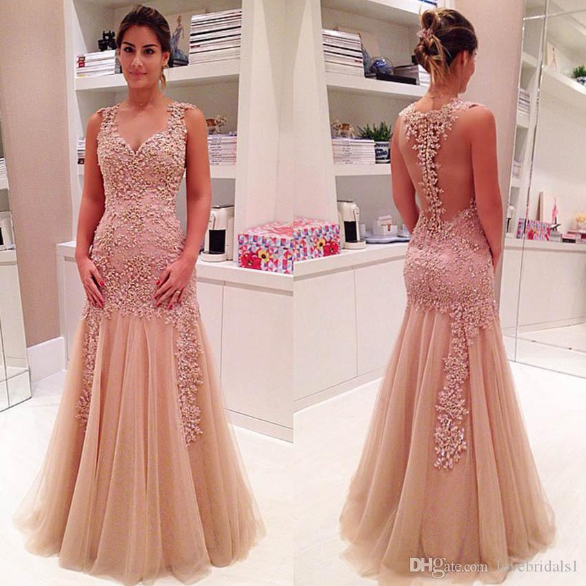 cheap elegant lace applique sexy v-neck backless evening dress for women tulle floor length formal plus size brides mother dress