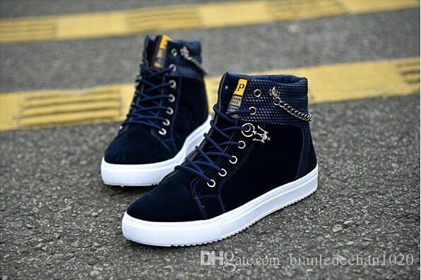 2017 spring and autumn men's shoes fashion chain canvas shoes high to help free board shoes