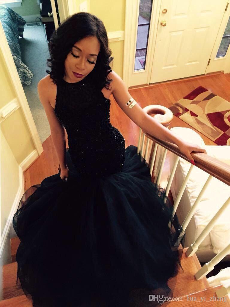 Mermaid Prom Dresses 2016 Black Crew Neckline Beaded Tulle Sweep Train Evening Gowns robe de soiree