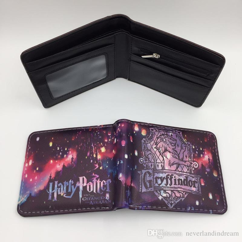 High Quality Anime Cartoon Harry Potter Short Wallet Hogwarts Gryffindor Coin Purse Men Women Money Bag With Card Holder