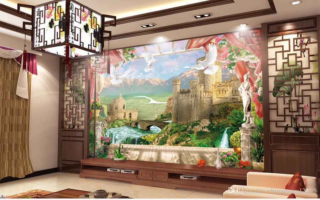 Columna romana estereoscópica 3D Papel tapiz de pared para fondos de pantalla murales 3D