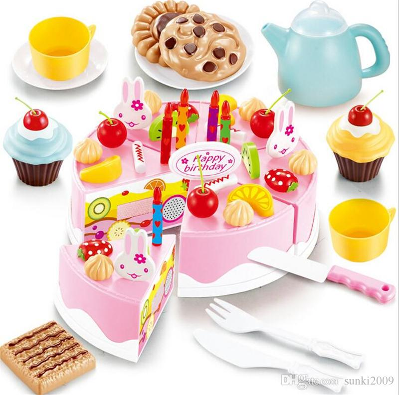Diy Cutting Birthday Cake Kitchen Food Toy Pretend Playhouse Game